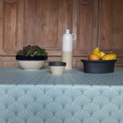 Wipe clean tablecloth round or oval Papyrus Watercolor Green