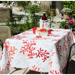 nappe en coton enduit corail rouge fleur de soleil. Black Bedroom Furniture Sets. Home Design Ideas