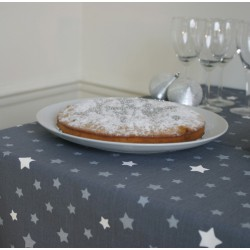Wipe clean tablecloth Stars grey/silver