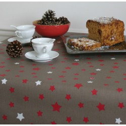 WIPE CLEAN TABLECLOTH STARS TAUPE/RED