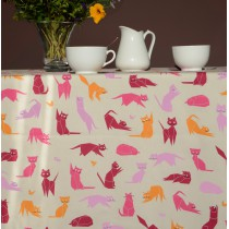 Wipe clean tablecloth Pink Cats