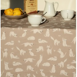 Wipe clean tablecloth Taupe Cats