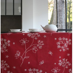 Wipe clean tablecloth Astrancia red round or oval