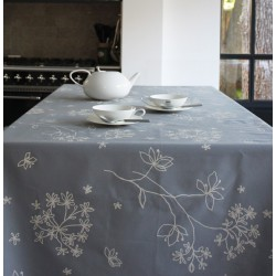 Wipe clean tablecloth Astrancia grey round or oval