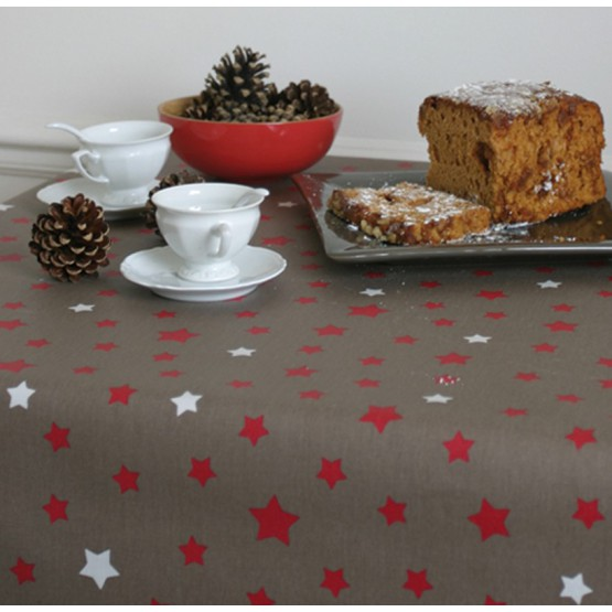 WIPE CLEAN TABLECLOTH STARS TAUPE/RED Fleur de Soleil
