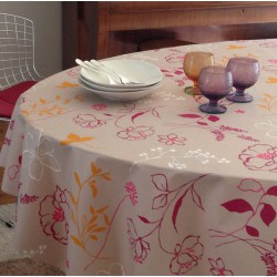 Wipe clean tablecloth Camellia orange round or oval