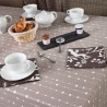 WIPEABLE COATED TABLECLOTH PEARLS TAUPE Fleur de Soleil