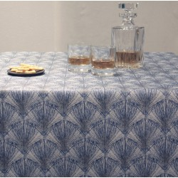 Wipe clean tablecloth Feathers blue
