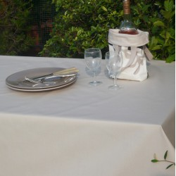 Wipe clean tablecloth Plain beige round or oval