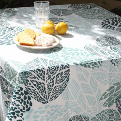 Nappe enduite ronde ou ovale Feuille turquoise blanc
