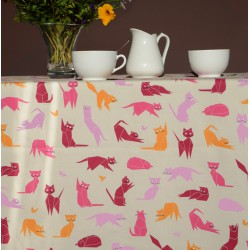 Wipe clean tablecloth Cats pink round or oval