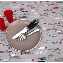 Wipe clean tablecloth Fish grey