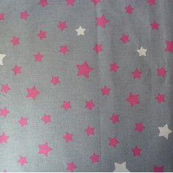 Cotton fabric cut Stars gray/pink