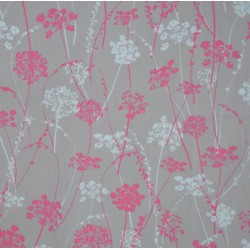 Wipe clean fabric cut Herbs grey/pink