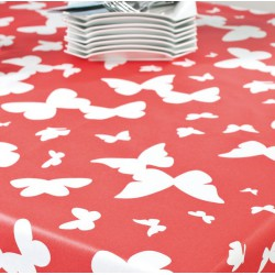 Wipe clean fabric cut Butterfly coral