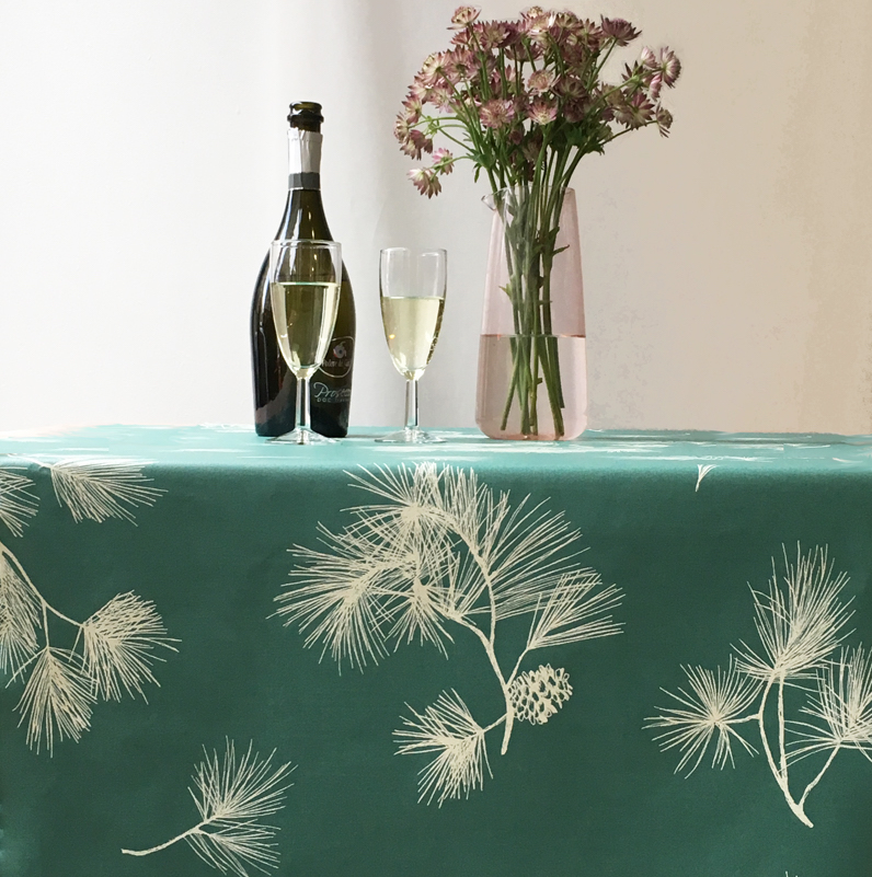 Waterproof and anti-stain tablecloth PINE TREE GREEN